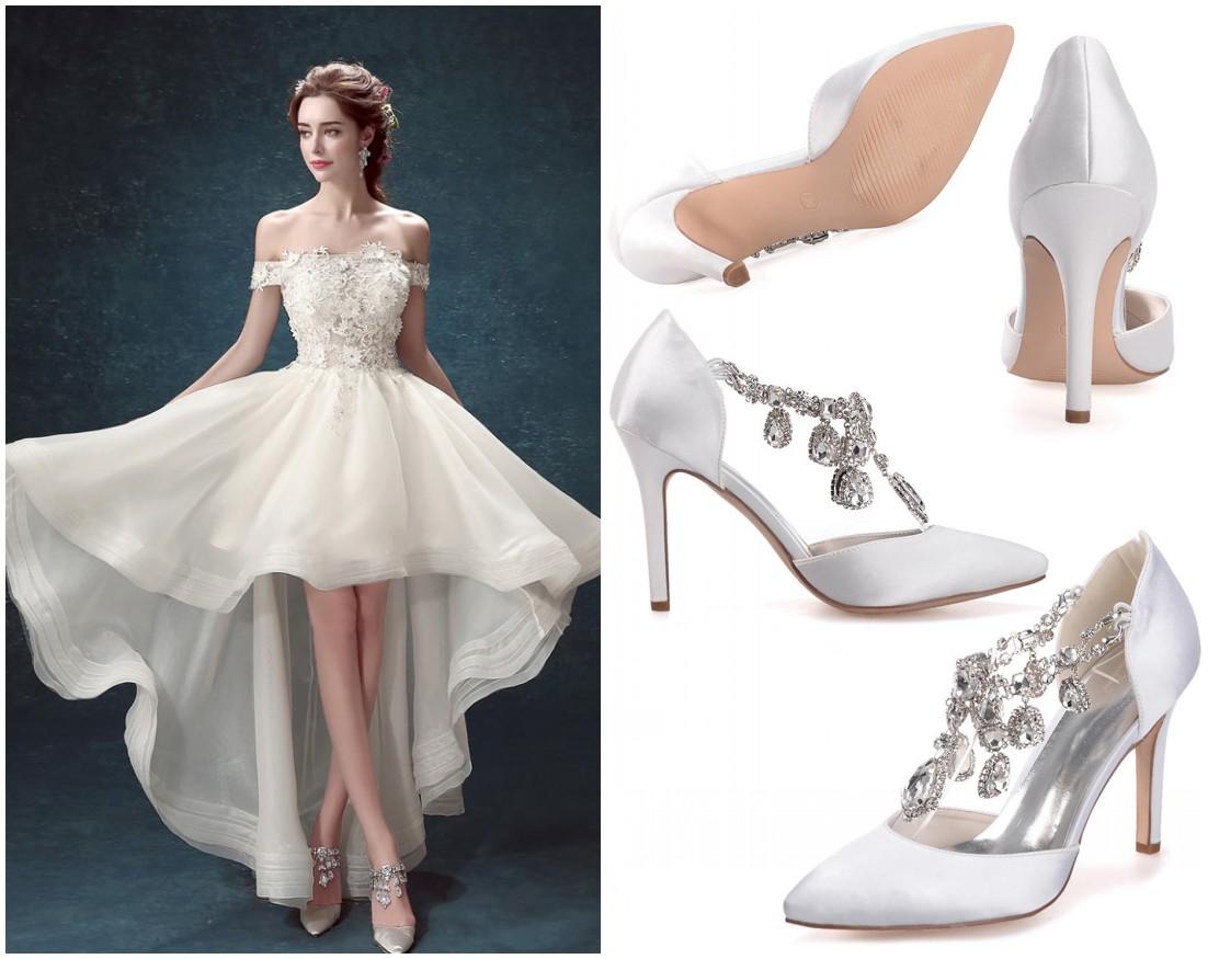 robe mariée bascule à haut dentelle et escarpin satinée strass